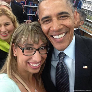 President Obama doing that selfie thingagain
